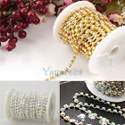 SS6 SS8 SS10 SS12 Clear AB Crystal Rhinestone Silver/Golden Close Chain Trims