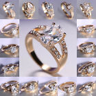 Size 8 Ring 18K Gold Filled Wedding White Sapphire Engagement Bride Jewelry