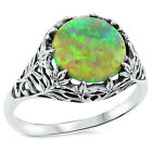 GREEN LAB FIRE OPAL ANTIQUE DESIGN .925 STERLING SILVER RING, #108