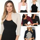 Womens Tailored Shrug 3/4 Sleeve Cropped Bolero Top Party Blazer Jacket Coat