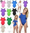 Womens Ladies Cut Out Off Shoulder Slash Neck Frill Sleeve Leotard Bodysuit Top