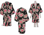 Womens Black Floral Print Kimono Front Pockets 3/4 Sleeve Cover up Kaftan Jacket