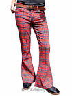 Flares Tartan Red Men Bell Bottoms Hippie Vtg Indie Trousers 60's 70's Glam