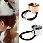 2 Colors Fashion Punk Rock Metal Circle Ring Hair Cuff Wrap Ponytail Holder Band