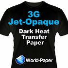 "3G Jet Opaque Heat Transfer Paper, Inkjet Dark t shirt 8.5 "" x 11"" and 11"" x 17"""