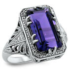 5 CT. PURPLE HYDRO AMETHYST ANTIQUE DECO DESIGN .925 STERLING SILVER RING,  #366