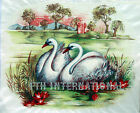 B04 ~ Oriental Swan Scene on Ceramic Decals, 3 sizes to choose from, Water Birds image