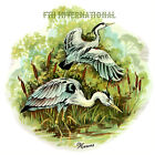 B03 ~ Herons on Ceramic Decals 4 sizes to choose from, Water Birds, Bulrushes image