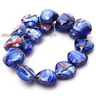 1/6 strings New Colorful Flowers Heart Charm Loose Lampwork Glass Beads 15mm
