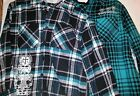Boys Hooded Woven Flannel Black Teal Gray White Button Up Shirt Size 8 Medium