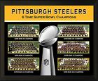 """PITTSBURGH STEELERS 6 Super Bowl Championship Teams 8x10"""" Plaque"""