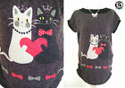 LADIES FLEECE TOP CATS PRINT ANIMAL LOVER JUMPER DRESS BLOUSE PUSSYCAT KITTEN