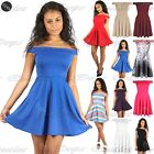 Womens Ladies Off Shoulder Flared Bardot Swing Party Mini Skater Dress Plus Size