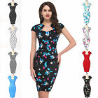 LADIES 50'S RETRO VINTAGE STYLE ROCKABILLY PIN UP WIGGLE  FLORAL/POLKA DOT DRESS