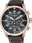 Citizen Eco-Drive Aviator Chronograph 100m Leather Watch CA4213-00E