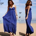 Women Twist Halter Backless Empire Waist Pleated Full Length Maxi Dress Chic New
