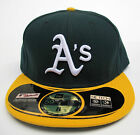Oakland Athletics On Field Green On Yellow All Sizes Fitted Cap Hat by New Era