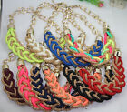 beautiful handmade cotton rope woven Fluorescent color alloy charms necklace