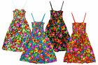Girls All Over Flower Print Strappy Cotton Floral Sun Dress 2 to 14 Years NEW
