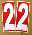2 x White numbers on Red background - European/OTK Race Karting Numbers