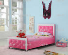 PRINCESS LEATHER BED FOR GIRLS BED 3FT SINGLE WITH MEMORY MATTRESS