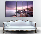 Rocks Under Purple Sky Wall Art On Canvas Set Of 5 Choice Of Clock READY TO HANG
