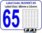 Plain White Blank Address Labels, 65 Per Page / A4 Sheet 65 Up 65TV : BLSHEET-65