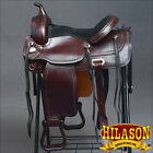 DF203 HILASON WIDE GULLET DRAFT WESTERN TRAIL ENDURANCE HORSE SADDLE 16 17