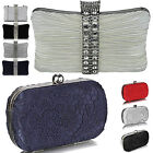 Womens Box Clutch Bag Ladies Lace Evening Diamante Handbag Designer Bridal Weddi