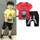 2015 Toddler Kid Boy 3D Sharks Suit Outfit T-shirt Tops Pants Sets Sportswear CA