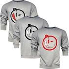Yums Classic Outline Face Crew Neck Jumper Mens Grey Cotton R22