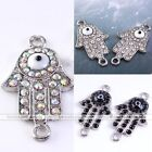Side Ways Evil Eye Hamsa Hand Crystal Connector Charm Bead Bracelet Finding DIY