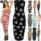 New Womens Ladies Printed Boobtube Bandeau Strapless Stretchy Bodycon Midi Dress