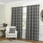 TARTAN CHECK GREY LINED WOOL LOOK & FEEL RING TOP CURTAINS DRAPES *4 SIZES*