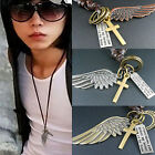 CHIC Creative Mens Womens Jewelry Vintage Angel Wing Leather Necklace Pendant