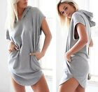 2015 Women Casual Loose Coat Hooded Jumper hoodie T Shirt Blouse Top Mini Dress