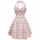 Whispering Ivy Pink Cherry Gingham Flared 50s Vintage Party Tea Dress