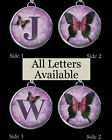 "Initials Letters Purple Buttterfly Necklace 1"" Silver Pewter Charms Pendants ALL"