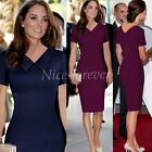 Princess Kate Style Women Lapel Career Formal Party Elegant Pencil Dress N927