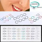 40PCS Stainless Steel 316L Nose Open Hoop Ring Crystal Stud Earring Body Jewelry