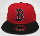 Boston Red Sox Red On Black All Sizes Fitted Cap Hat by New Era