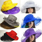 Fashion Lady Church Kentucky Derby Organza Sun Hat Wide Brim Wedding Party Beach