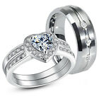 3 Pc Her .925 Sterling Silver His Tungsten AAA CZ Matching Wedding Ring Band Set