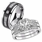 4 Pcs Her Sterling Silver Heart CZ His Titanium Matching Wedding Ring Band Set