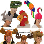 Animal Hats (Choose Your Hat) Plush Squid Moose Reindeer Parrot Alligator New