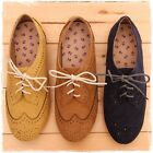 BN Women's Classic Casual Lace Up Oxford Flats Boots Shoes Yellow Brown Blue