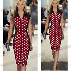 New Womens Polka Dot Pencil Midi Bodycon Dress Slit Zipper Sleeveless NB213