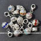 5x Crystal Studded Hollow Flower Dangle Ball European Bead Fit Charms Bracelet