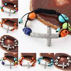 Knit Howlite Turquoise Gemstone Skull Ball Crystal Cross Bead Macrame Bracelet