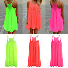 Lastest Womens Strap Neon Color Evening Party Beach Mini Dress Long Chiffon Tops